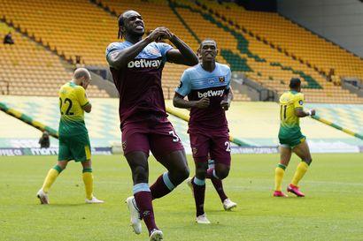 Teemu Pukin Norwichin putoaminen varmistui rökäletappiolla - West Hamin Michail Antonio iski neljä maalia