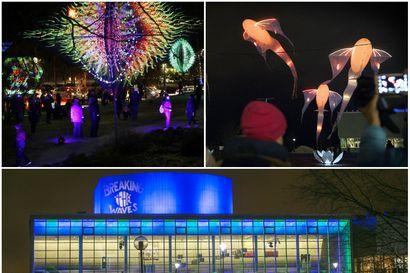 Äänestä, mikä on ollut vaikuttavin valoteos Oulussa –  lentäviä kaloja ja leiskuvia mielikuvitushahmoja