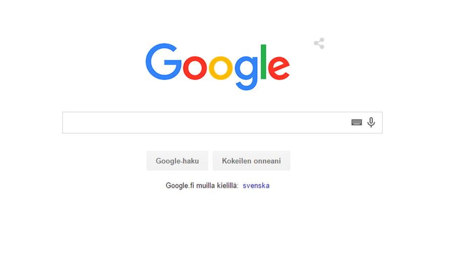 Googlen uusi logo hakukoneen etusivulla.