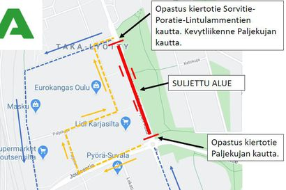Baanatyömaan vuoksi katu katkaistaan liikenteeltä Taka-Lyötyssä