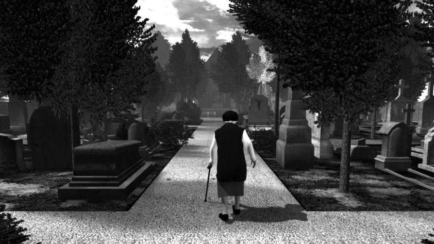The Graveyard on vähäeleinen peli: pelaaja kävelee vanhuksena hautausmaalla. Kuvakaappaus pelistä.