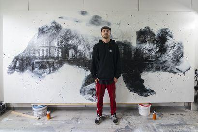 """Taiteilija Jussi TwoSeven tekee yli kolmensadan neliön muraalin Rukalle: """"Kahdeksan Rukan kylää kohti juoksevaa karhua"""""""