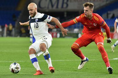 Pitkään alivoimalla pelannut Huuhkajat taipui Walesille, Teemu Pukki iski Suomen ainokaisen maalin