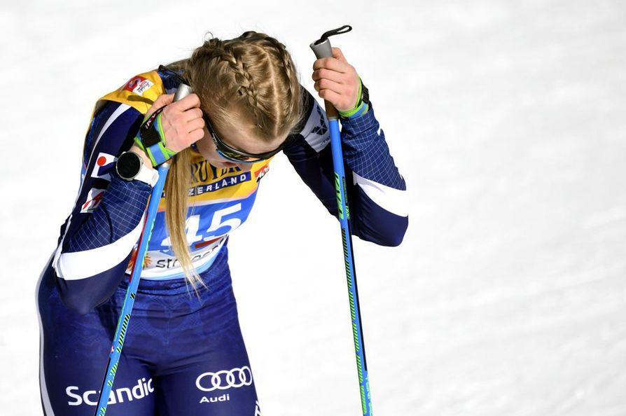Anita Korvan vauhti ei riittänyt jatkoon sprintin karsinnasta. Kiiminkiläisen arvokisadebyytti kesti alle kolme minuuttia.