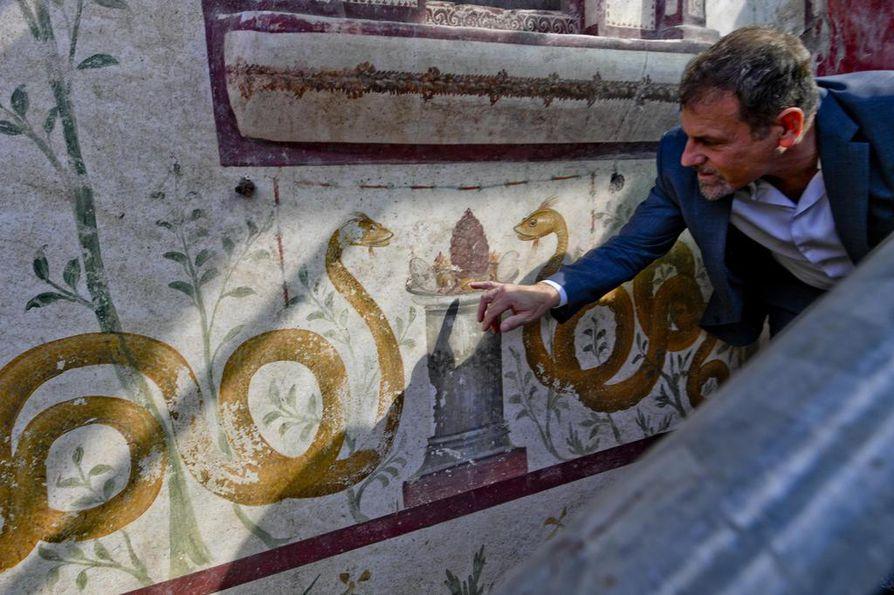 """Pompejin arkeologisia kaivauksia johtava Massimo Osanna esittelee seinämaalausta, joka paljastui viime vuoden lokakuussa. Seinä on osa roomalaistalon larariumista eli kodinvartija Lareksen """"kappelista"""". Käärme symboloi tavallisesti kodin isännän persoonaa ja henkeä."""