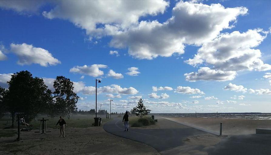 Aurinkoinen hiekkamyrsky Nallikarissa.