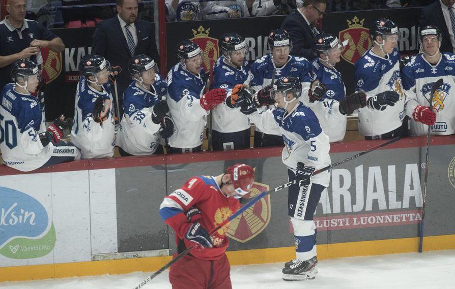 Sakari Manninen teki Venäjää vastaan pelatussa ottelussa tehot 1+1.