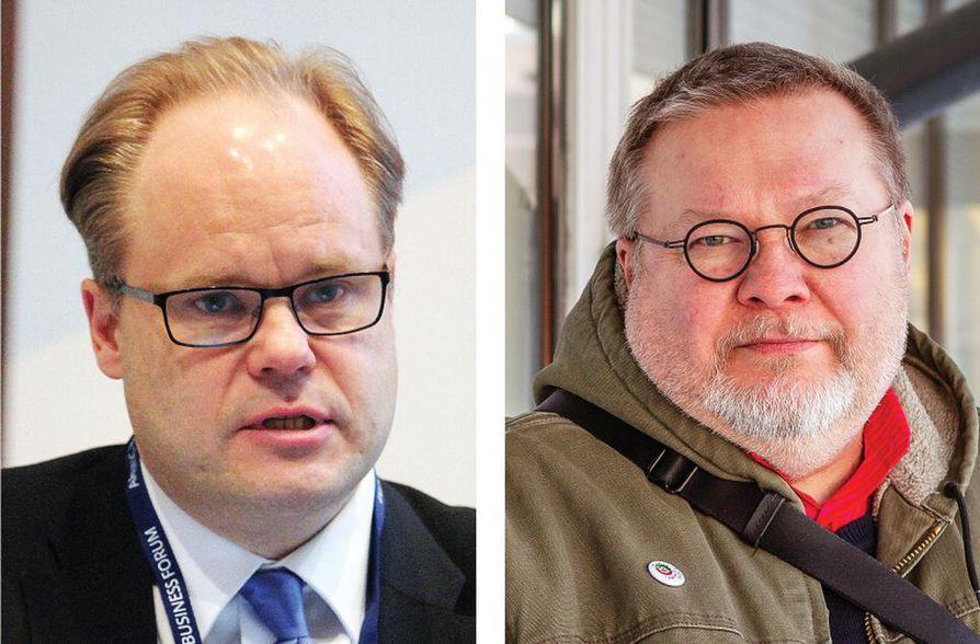 Kemin kaupunginjohtaja Tero Nissinen (vas.) myöntää puuttuneensa Kari S. Lankisen viestintään.