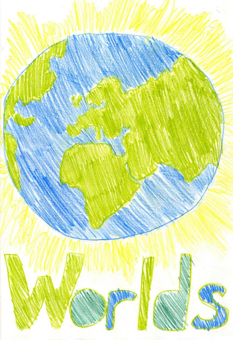 Hanna-Mari on piirtänyt  kirjansa kanteen maapallon.