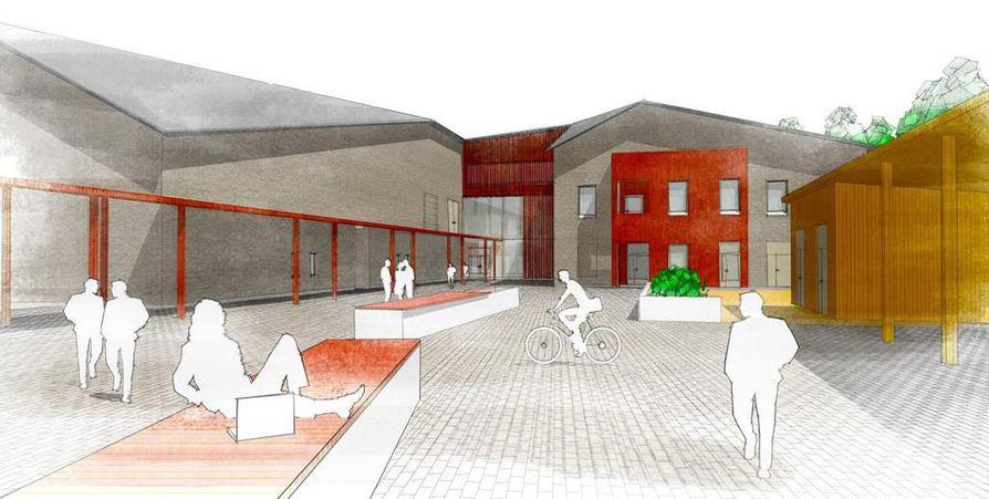 Havainnekuva uudesta Jokirannan koulusta, joka on oululaisen Uki Arkkitehtien suunnittelema.
