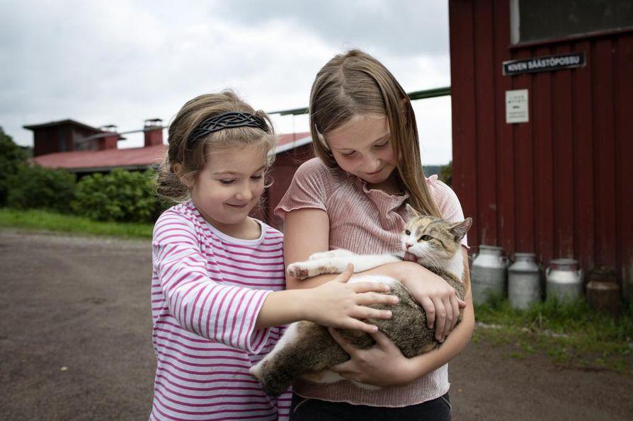 Saara ja Paula Koli tykkäävät leikkiä possujen kanssa, mutta myös perheen kissoja on kiva paijata. Paulan sylissä Miuku.
