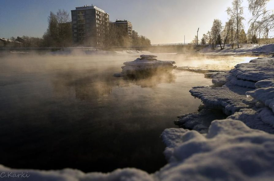 1. palkinto. Christian Kärki kuvasi komean hetken Oulun Kuusisaaren rannalta Toivoniemeen päin 28. helmikuuta viime talvena. Pakkasta oli 25 astetta.