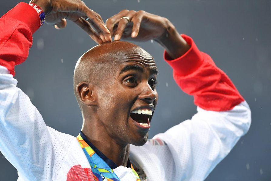 Britannian Mo Farahin 5 000 metrin voittoaika oli 13.03,30. Ikionnellinen juoksija halusi omistaa olympiavoittonsa lapsilleen.