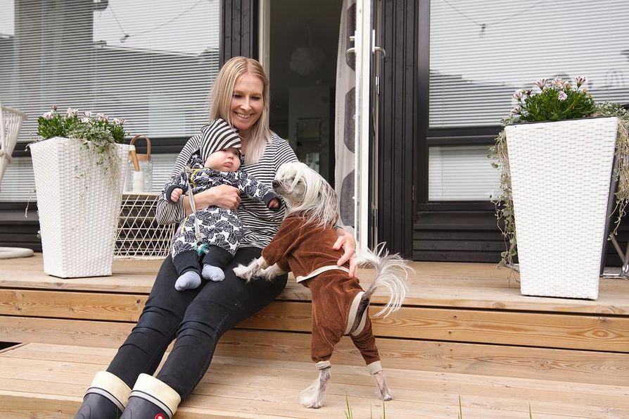 Oma piha helpottaa Niisku Haapalan elämää vauvan ja kahden koiran kanssa. Sakke-koira on mukana aina siellä missä tapahtuu.