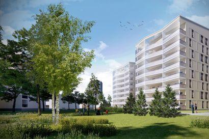 Valjaspuiston kortteliin rakentuvan Oulun Piirron ylimmistä asunnoista pääsee tähyämään jopa merelle
