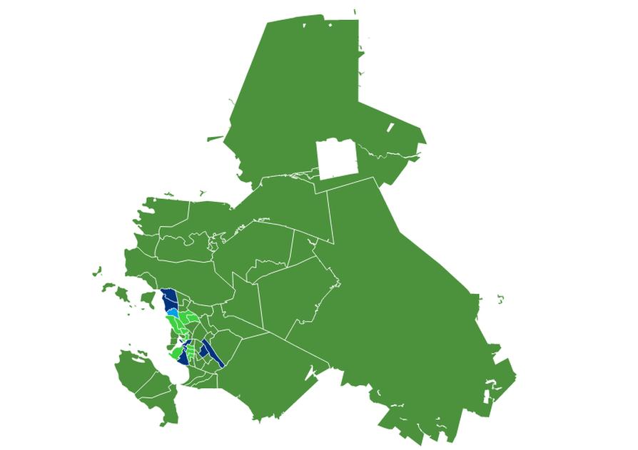 Puolueiden kannatus eri äänestysalueilla Oulussa europarlamenttivaaleissa toukokuussa 2019