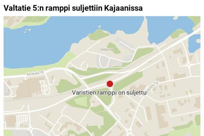 Valtatie 5:n ramppi Varistielle suljettiin Kajaanissa vedenpaljouden vuoksi