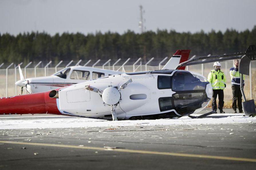 Kopterionnettomuus Oulun lentokentällä.