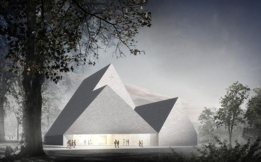 Ylivieskan uuden kirkon suunnitelmat perustuvat yleisen kansainvälisen arkkitehtikilpailun voittaneeseen ehdotukseen Trinitas.