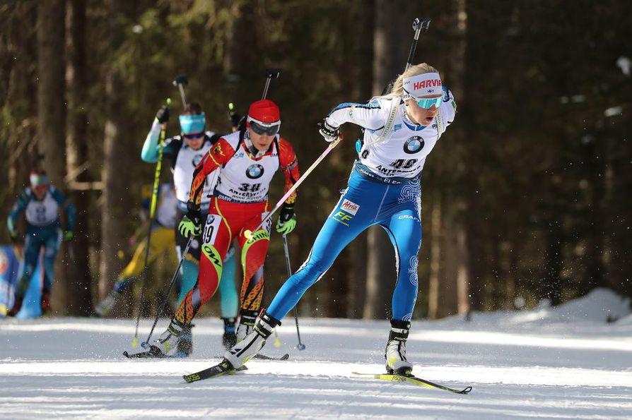 MM-kisojen parhaaseen sijoitukseensa yltänyt Mäkäräinen ampui yhteensä viisi sakkoa. Arkistokuva.