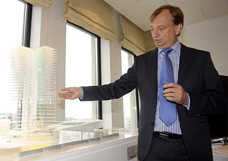 Hjallis Harkimo esitteli tiistaina suunnitelmaansa rakentaa Hartwall Areenan kupeeseen nykyaikaisen viihde- ja asuinrakennuksen, josta tulisi samalla Suomen korkein talo.