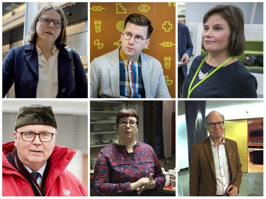 Heidi Hautala (vuhr.), Sebastian Tynkkynen (ps.), Mirja Vehkaperä (kesk.), Eero Heinäluoma (sd.)., Merja Kyllönen (vas.) sekä Kimmo Sasi olivat ehdolla vaaleissa.