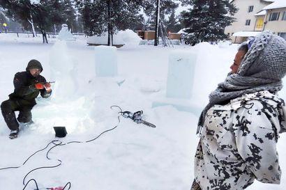 Inarijärven jäälohkareista syntyy omituisten otusten puisto vanhan kyläkoulun pihalle