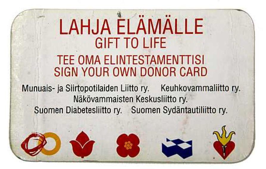 Viidennes suomalaisista on antanut suostumuksen elinluovutukseen ja vahvistanut asian elinluovutuskortilla.