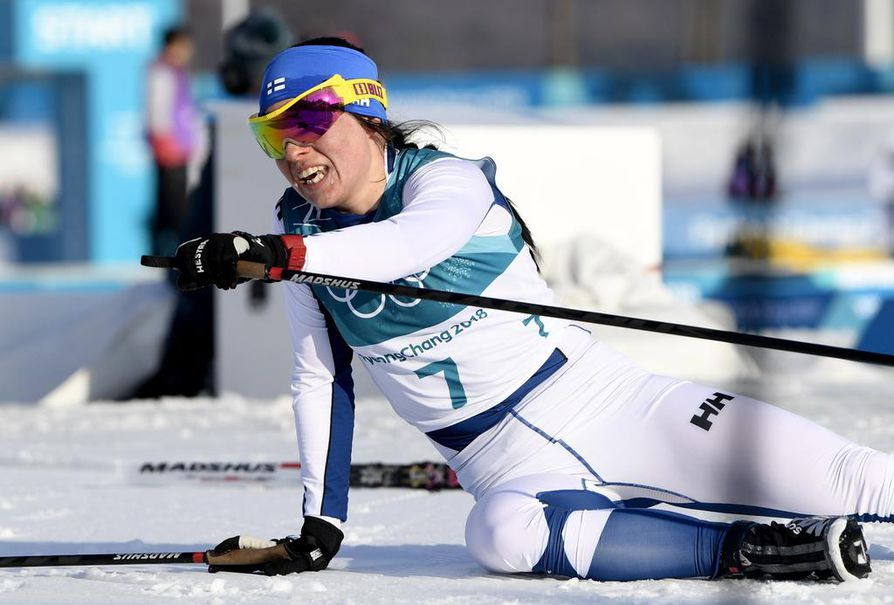 Krista Pärmäkoski antoi kaikkensa kisaladulle olympialaisten päätösmatkalla.