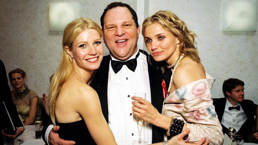 Elokuvatuottaja Harvey Weinstein esiintyi mielellään kuvissa kauniiden näyttelijättärien seurassa. Todellisuudessa suhteet perustuivat vallan väärinkäyttöön ja alistamiseen. Kuvassa Gwyneth Paltrow, Harvey Weinstein ja Cameron Diaz.