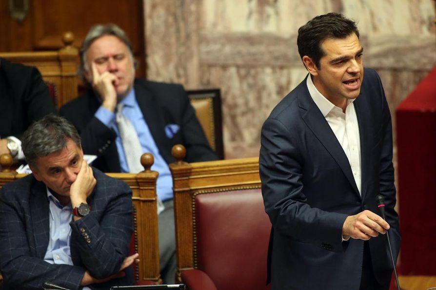 Kreikan pääministeri Alexis Tsipras puhui parlamentille ennen äänestystä.
