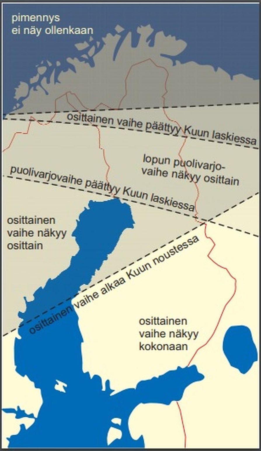 Parhaiten pimennys näkyy Etelä-Suomessa, jossa osittaisen vaiheen voi nähdä kokonaan ja vain alun puolivarjopimennyksestä osa jää näkemättä. Vaasa-Kajaani-linjan pohjoispuolella osittainen vaihe näkyy vain osittain. Pohjoisemmas mentäessä Kuu laskee varhemmin, ja osittaisen vaiheen loppuosa voi jäädä näkymättä. Aivan maan pohjoisosissa koko pimennys jää horisontin taakse.