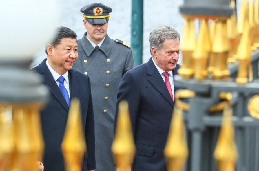 Tasavallan presidentti Sauli Niinistö ja Kiinan presidentti Xi Jinping tapasivat tammikuussa Kiinassa.