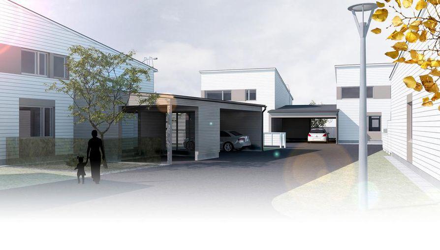 Asuntoon saavutaan katoksen kautta. Katoksessa on tilaa myös autoille ja pyörille. Suunnittelussa on  paneuduttu huolella asukkaan matkaan kadulta aina sisälle kotiin saakka.