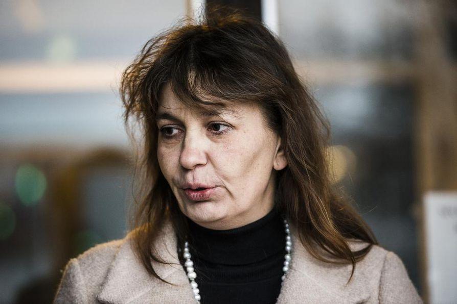 Perussuomalaisten puoluesihteeri Riikka Slunga-Poutsalo harmitteli vaalitulosta Ylellä. Arkistokuva.