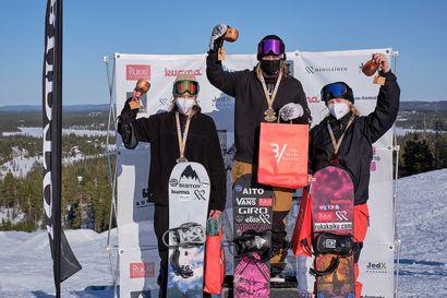 Mountain Club Ounasvaaran Aleksi Patjalle slopestylen SM-kultaa Rukalla