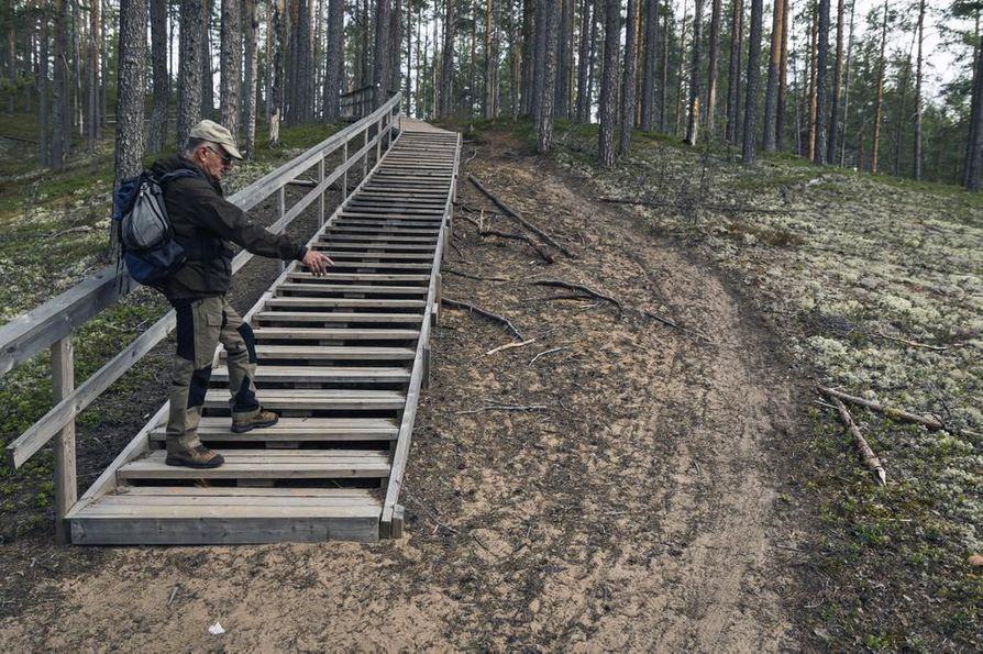 Vaalalainen Jorma Kuronen Pookivaaran portailla Rokuan kansallis- puistossa. Pyöränjäljet kertovat, etteivät kaikki ole pysyneet sallitulla maastopyöräreitillä. –Lisäksi kävelijöidenkin tulisi käyttää tässä portaita, jotta herkkä maasto ei kuluisi turhaan, Kuronen muistuttaa.