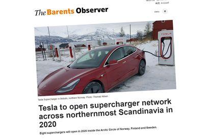 Sähköautojen valmistaja Tesla rakentaa superpikalatureita Pohjoiskalotille
