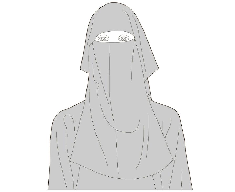 Kasvohuntu, joka peittää kasvot lähes kokonaan, vain silmille jää pieni aukko. Usein musta. Käytetään erityisesti Persianlahden arabimaissa.