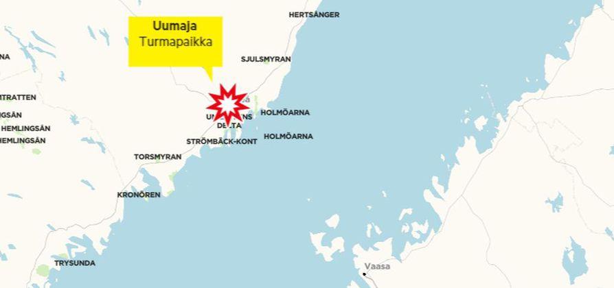 Lento-onnettomuus sattui Uumajan lähellä Ruotsissa sunnuntaina.