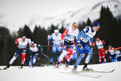 Norjan Kläbo ykkösenä maalissa, mutta lopun törmäily aiheutti hylkäyksen – Niskanen oli todella pettynyt 50 kilometrin kisan jälkeen ja suksetkin lensivät
