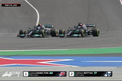 Lewis Hamilton ohittaa Valtteri Bottaksen Portugalin kisan kärkitaistelussa
