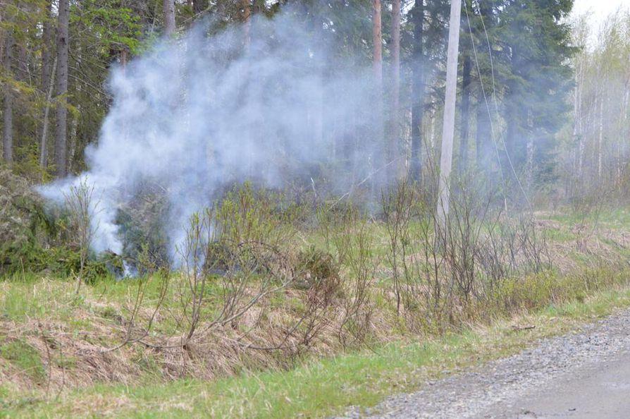 Muhoksella Tuppelantiellä kuusi katkaisi sähköjohdon ja syttyi palamaan.