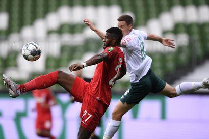 Moisanderin Bremen kipusi säilymiskarsintaan, Hradeckyn Leverkusen jäi kaksi pistettä Mestarien liigan paikasta