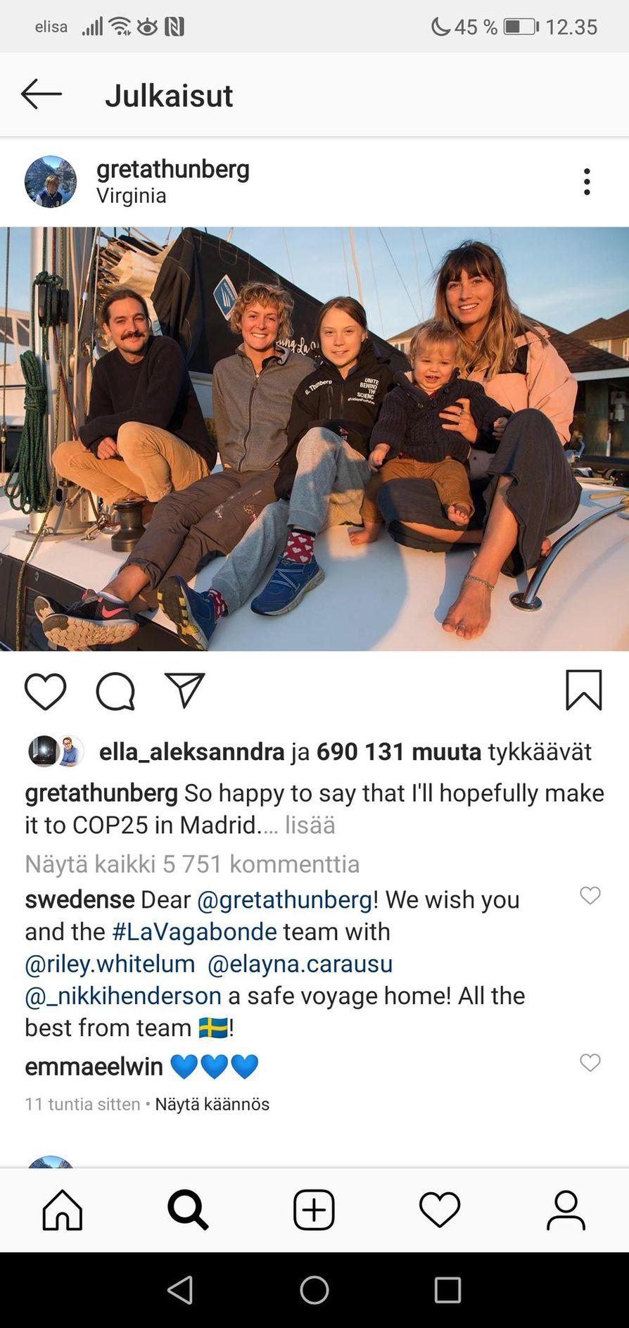 Greta Thunberg julkaisi Instagramissa kuvan matkaseurueestaan, jonka kanssa aloittaa tänään merimatkatn Virginiasta Eurooppaan.