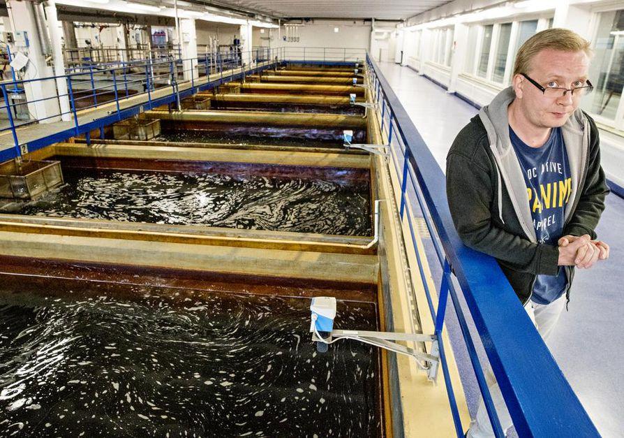 Vastaava käyttömestari Sami Huhtakangas esittelee Hintan vedenpuhdistamoa. Vieressä olevien altaiden kirkkaalta näyttävä vesi valuu hiekkasuodatukseen, joka jäljittelee luonnon puhdistusta.