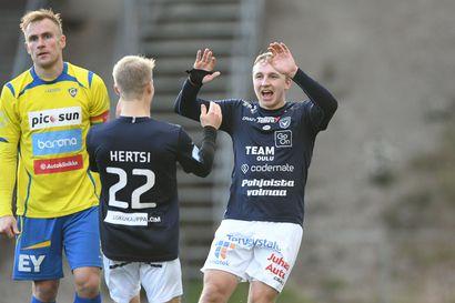"""AC Oulu kaatoi Gnistanin ja on askeleen lähempänä nousua: """"Pelaaminen ei ollut hienoa, mutta joskus se hienous on siinä, että painetaan joukkueena tuubiin"""""""