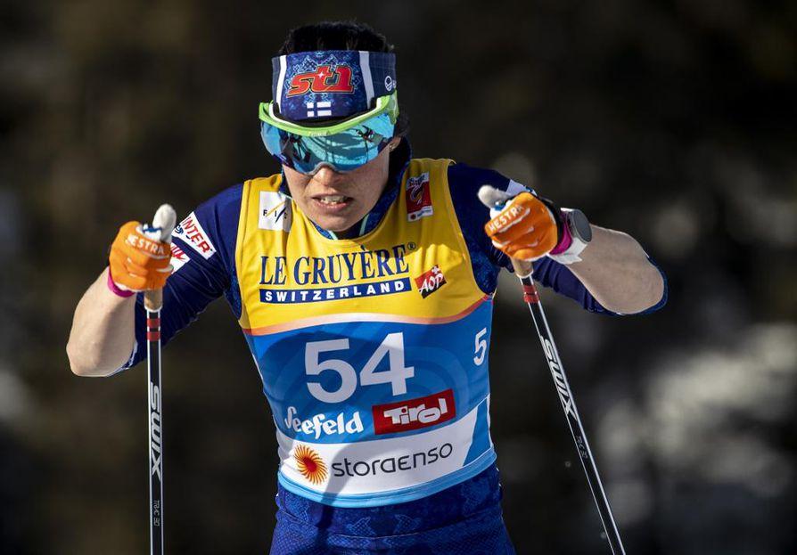 Krista Pärmäkoski urakoi myös päätösmatkan Seefeldin MM-kisoissa. Lauantaina on vuorossa 30 kilometriä vapaalla hiihtotavalla.