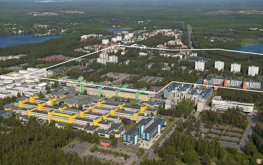 Kuvassa näkyy rajattuna suunnittelualue Linnanmaan ja Kaijonharjun alueella.