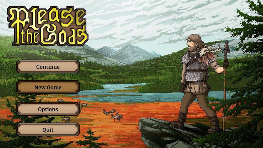 Please the Gods -pelissä seikkaillaan pohjoisessa erämaassa. Graafiseksi tyyliksi valittu pixel art vie ajatukset vanhoihin pc-peleihin.